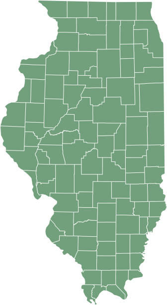 Illinois county map vector outline, state of USA, in green background Illinois county map vector outline, state of USA, in green background champaign illinois stock illustrations