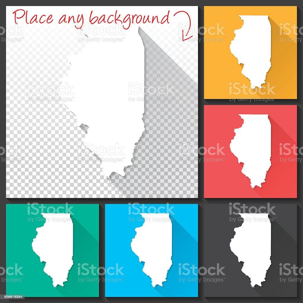 Illinois Map for design, Long Shadow, Flat Design vector art illustration