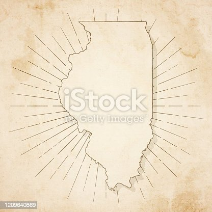Map of Illinois in a trendy vintage style. Beautiful retro illustration of an antique map with light rays in the background and on old textured paper. Included: Realistic texture of an old parchment (colors used: sepia, beige, brown). Vector illustration (EPS10, well superimposed and grouped). Easy to edit, manipulate, resize or colorize.
