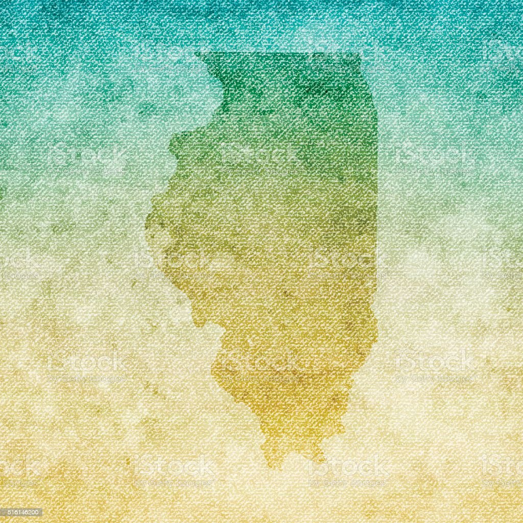 Illinois Map on grunge Canvas Background vector art illustration