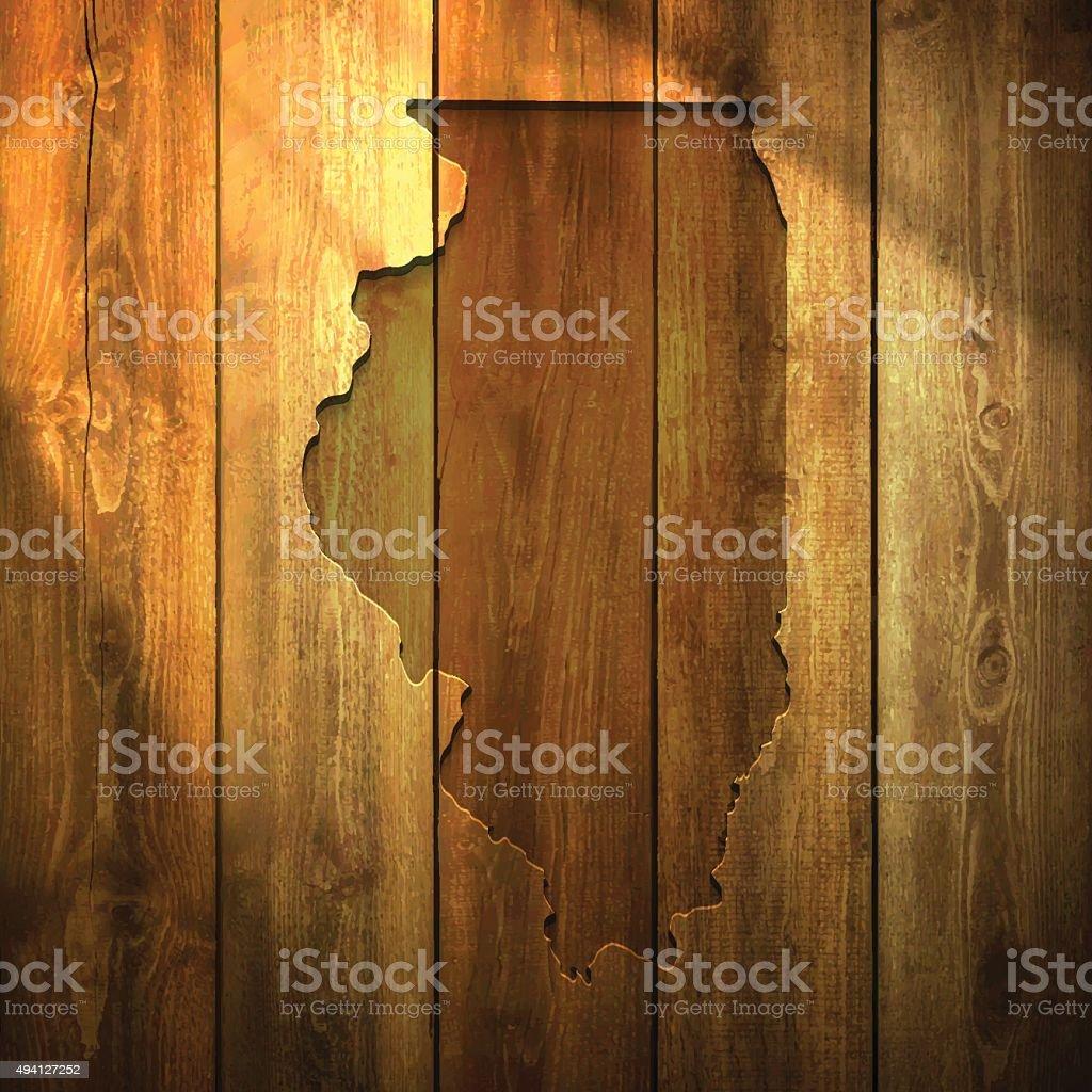 Illinois Map on lit Wooden Background vector art illustration