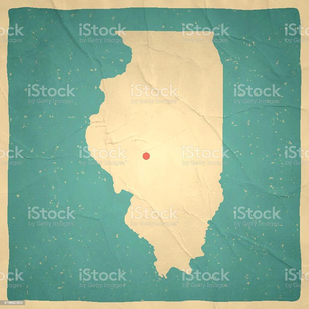 Illinois Map on old paper - vintage texture vector art illustration
