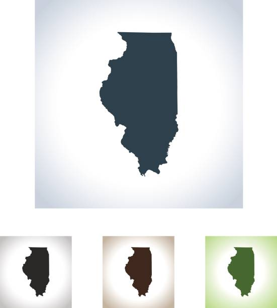 Illinois map vector art illustration