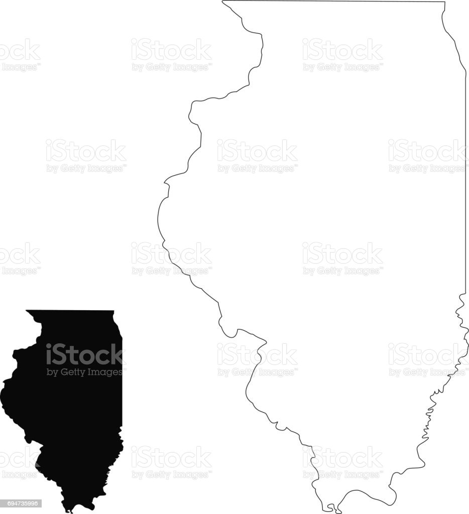 Illinois Map Stock Vector Art More Images of Cartography 694735996