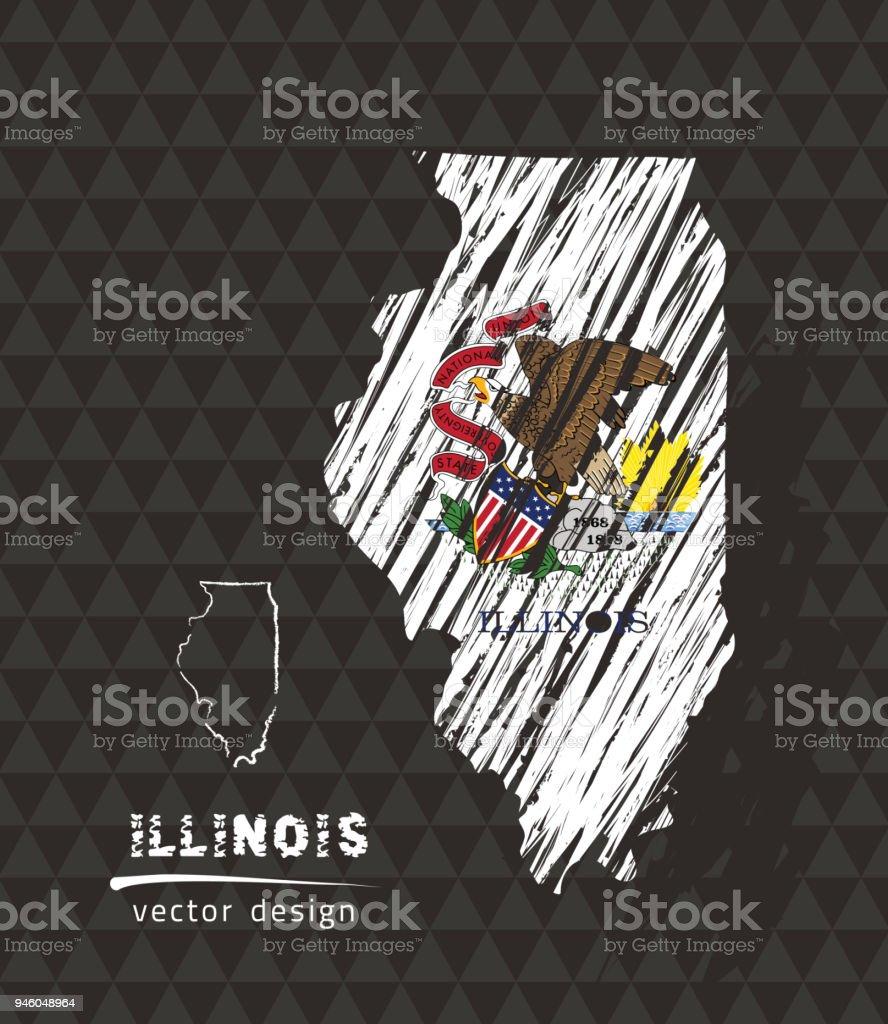 Illinois map with flag inside on the black background. Chalk sketch vector illustration vector art illustration