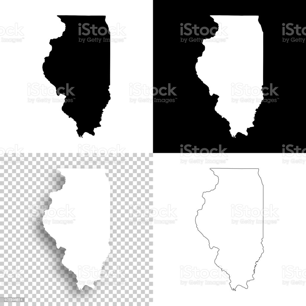 Picture of: Illinois Maps For Design Blank White And Black Backgrounds Stock Illustration Download Image Now Istock