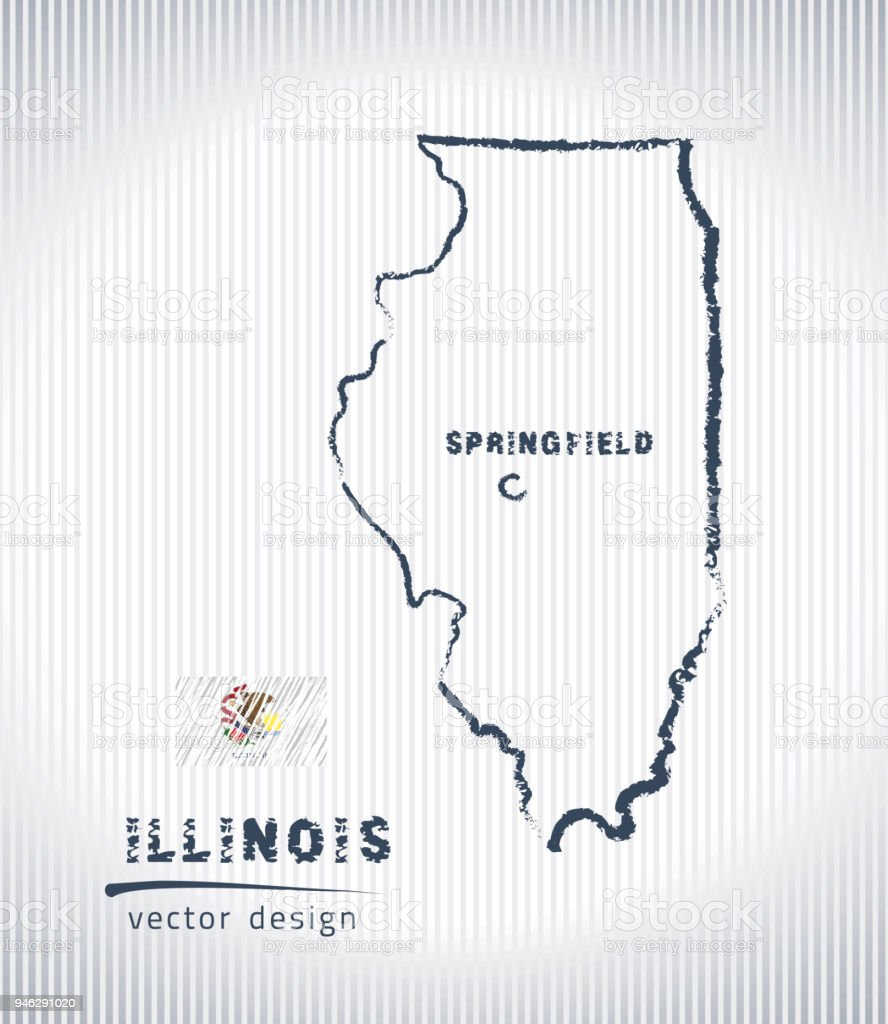 Illinois national vector drawing map on white background vector art illustration