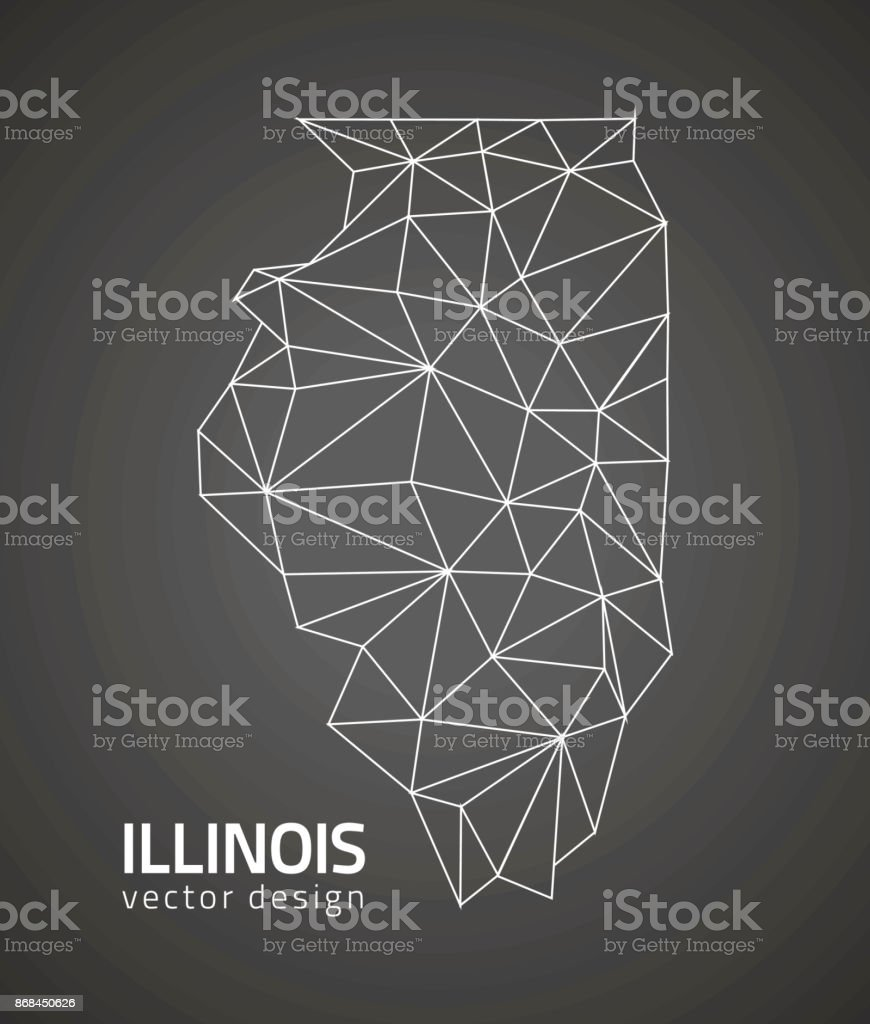 Illinois outline vector map vector art illustration
