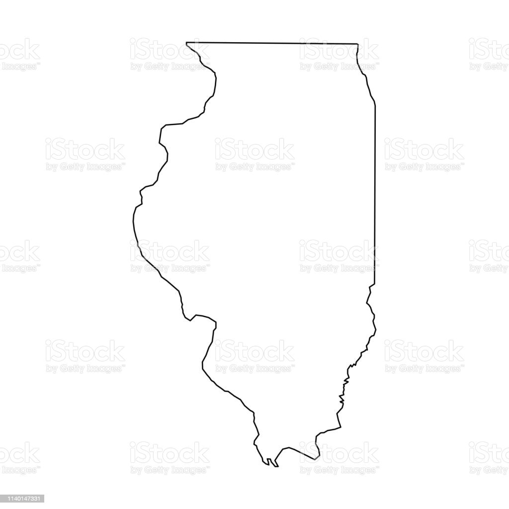 Illinois State Of Usa Solid Black Outline Map Of Country Area Simple on