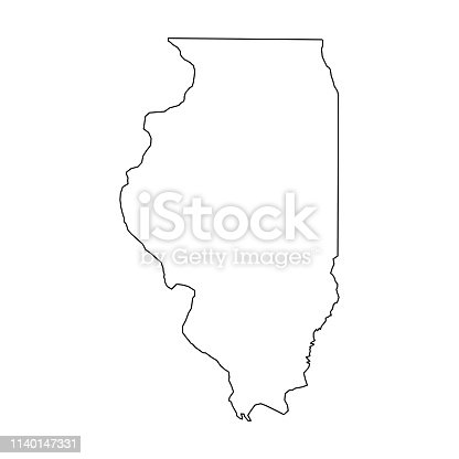 Illinois, state of USA - solid black outline map of country area. Simple flat vector illustration.