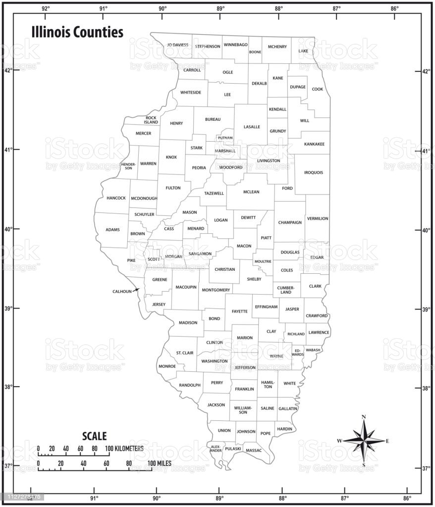 Illinois state outline administrative and political vector map in black and white