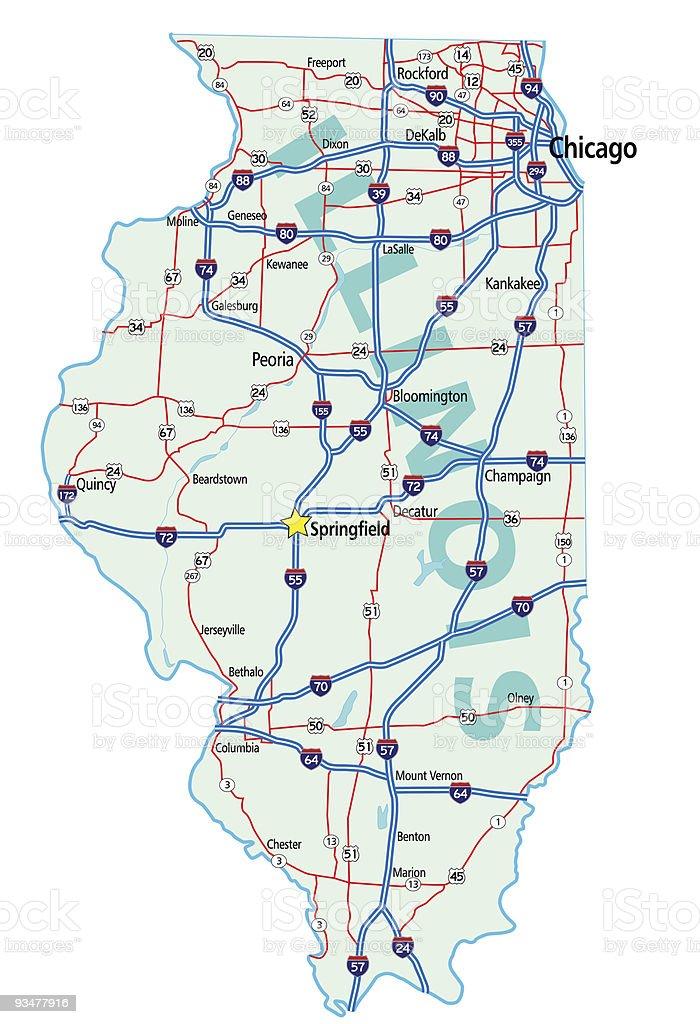 Illinois State Road Map Stock Illustration - Download Image ... on harrisburg illinois map, illinois map with all cities, illinois farm map, illinois zoning map, illinois railroad map, illinois minnesota map, illinois bayou map, central illinois map, illinois map coloring, illinois tourist map, illinois expressway map, illinois rd map, chicagoland map, illinois well map, rockford illinois map, illinois creek map, illinois wall map, illinois major highways, illinois airports map, illinois town map,