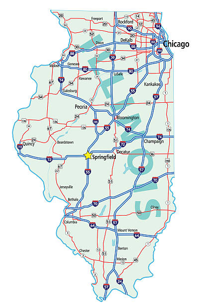Illinois State Road Map vector art illustration