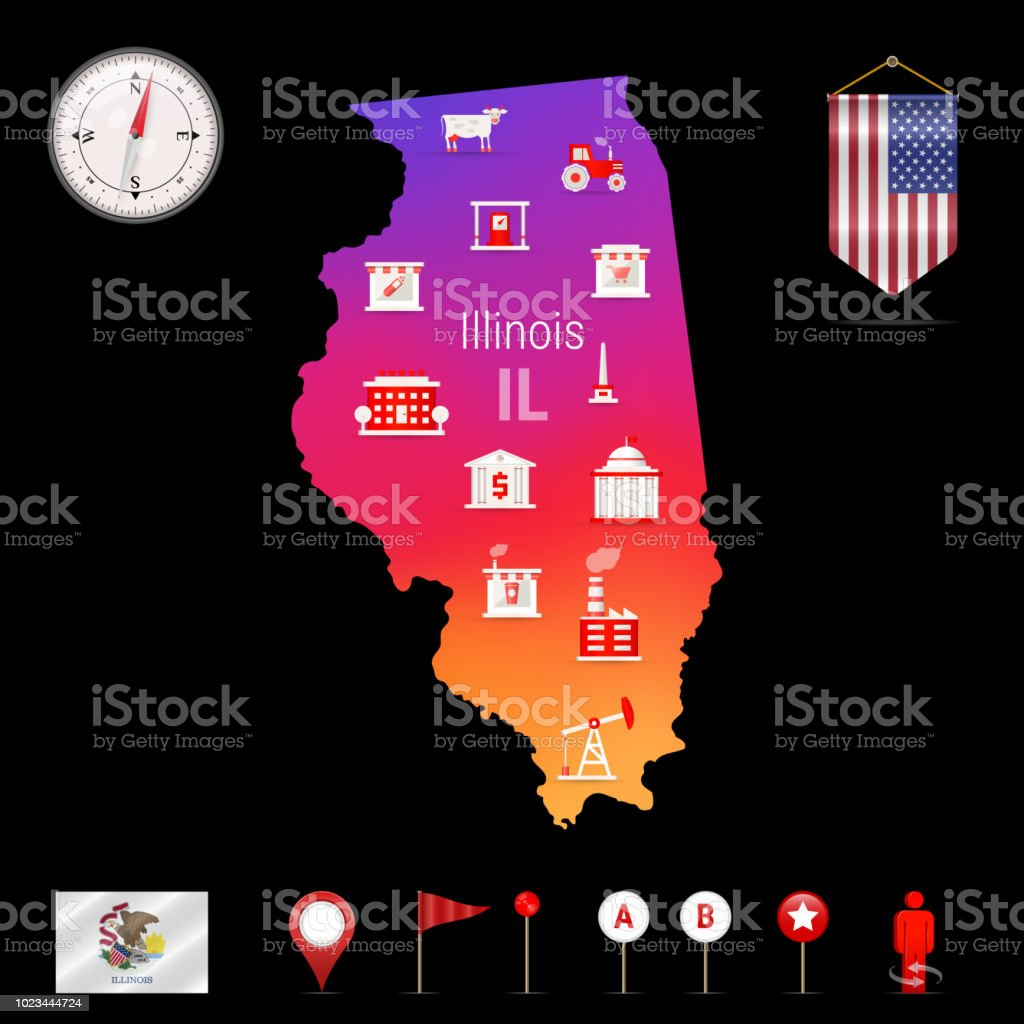 Illinois Vector Map Night View Compass Icon Map Navigation Elements