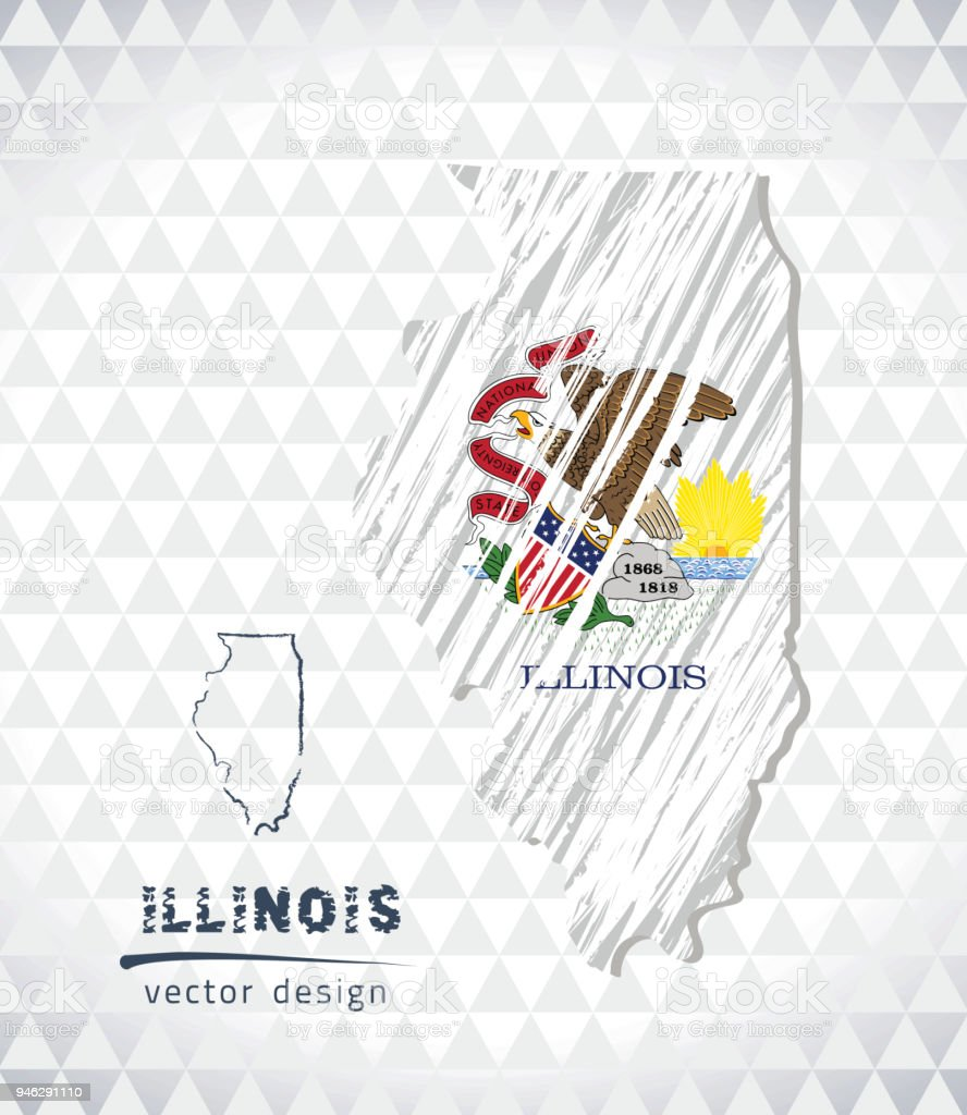 Illinois vector map with flag inside isolated on a white background. Sketch chalk hand drawn illustration vector art illustration