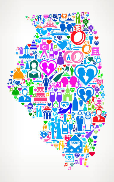 Illinois Wedding and Love Vector Graphic Illinois Wedding and Love Vector Graphic. The main object of this royalty free illustration is the composed of colorful vector icon pattern. These color wedding and love icons vary in size and form a seamless composition. The icons are white in color. This illustration is conceptual and ideal for love, wedding, marriage and relationship graphics. Each icon can be used independently from the background set. champaign illinois stock illustrations