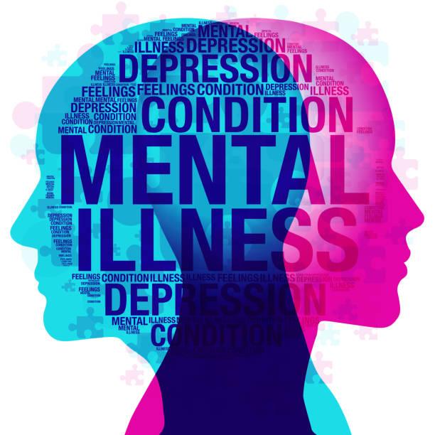 stockillustraties, clipart, cartoons en iconen met ziekte van de geest - psychische aandoening
