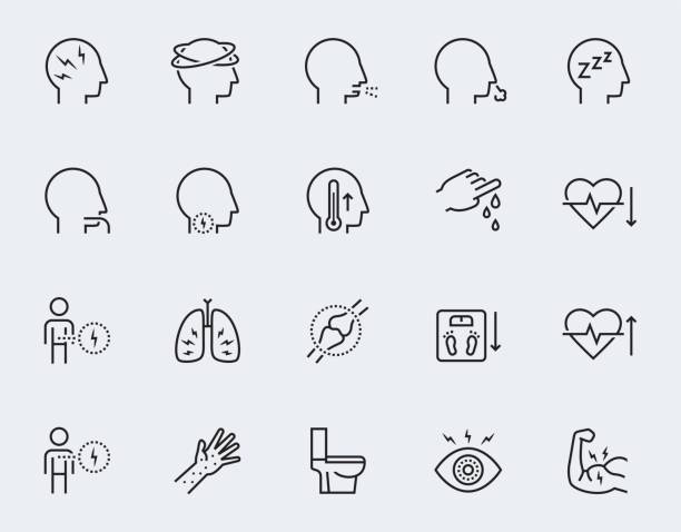 Illness symptoms vector icon set in thin line style Illness symptoms vector icon set in thin line style fever stock illustrations