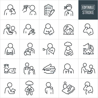 Illnesses Thin Line Icons - Editable Stroke