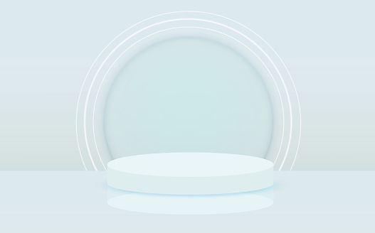 Illuminated abstract round podium with white light vector background. Stage background. Round pedestal. Stage podium with lighting, Stage Podium Scene with for Award Ceremony on blue Background, Vector illustration