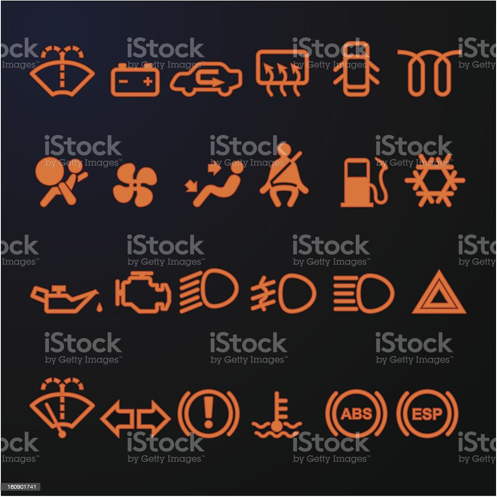 Illuminated Car Dashboard Icons Stock Vector Art IStock - Car sign on dashboard