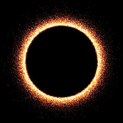 Illuminated circle frame on dark background