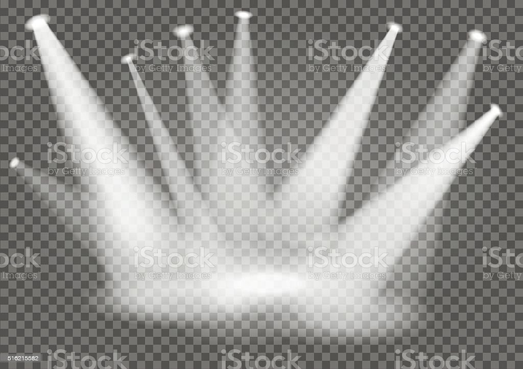 Illuminated empty stage with transparent effect. Light show. vector art illustration