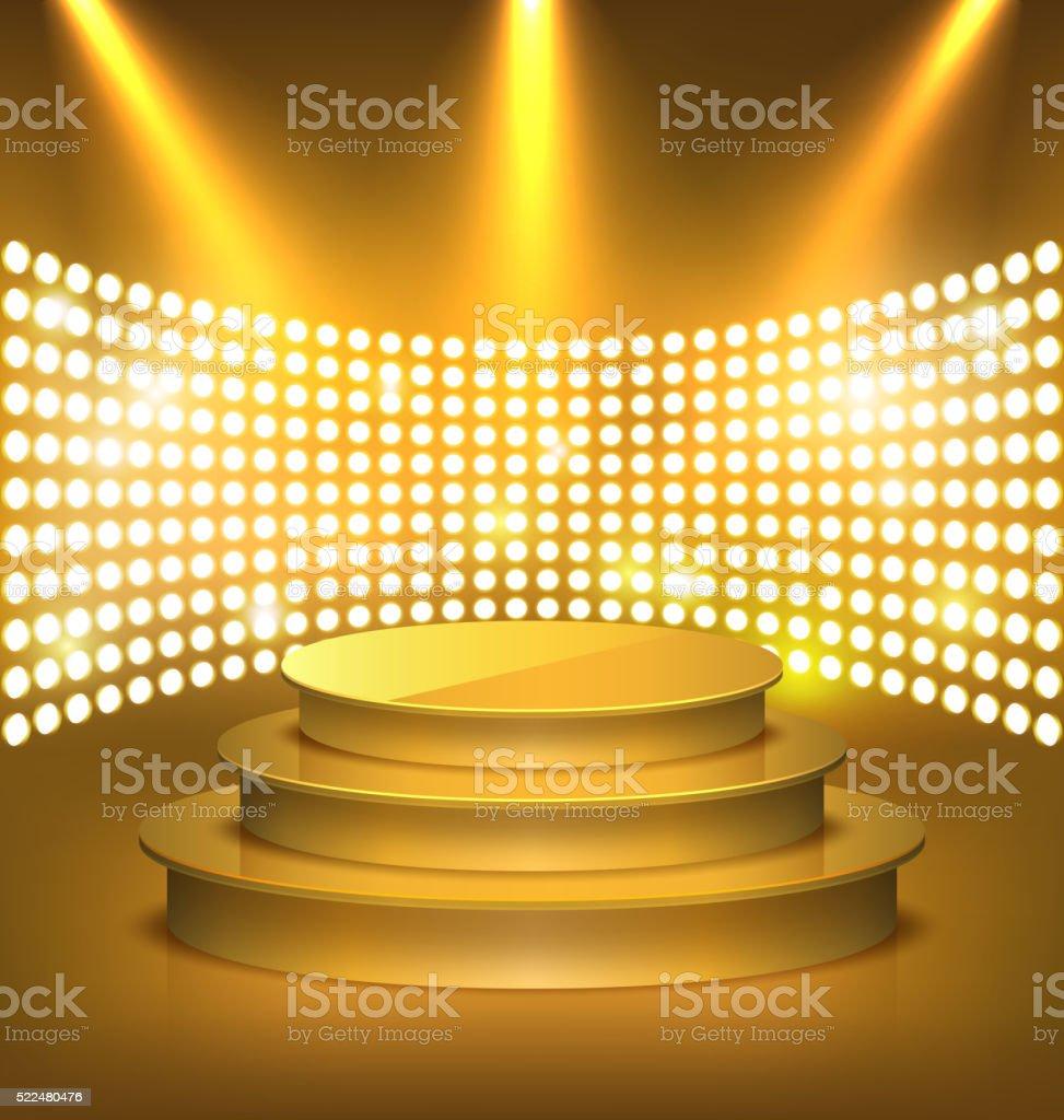 Illuminated Festive Golden Premium Stage Podium with Spot Lights vector art illustration