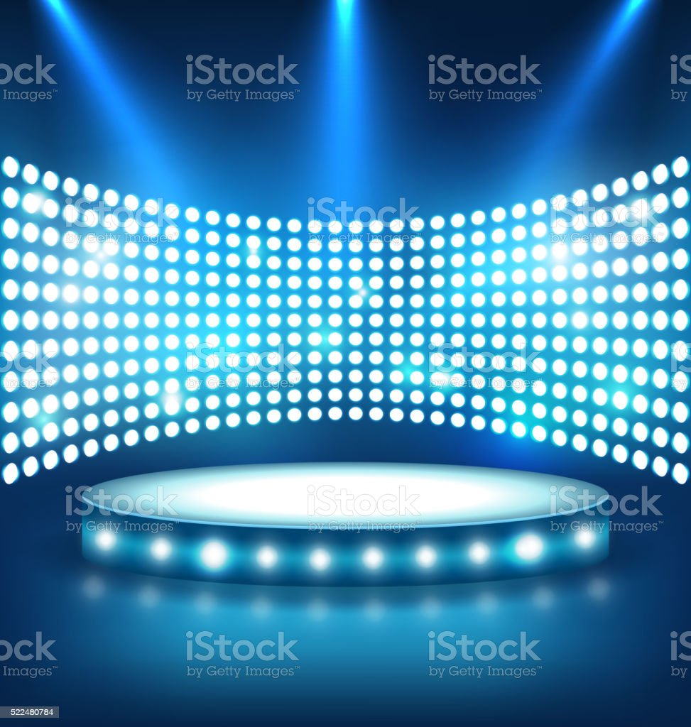 Illuminated Festive Shiny Blue Stage Podium with Spot Lights on vector art illustration