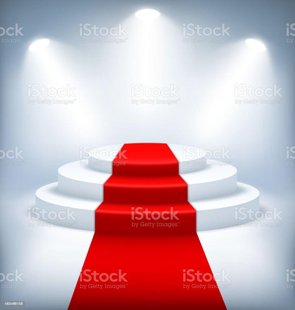 Освещенный праздничный стадия Подиум на белом фоне векторная иллюстрация