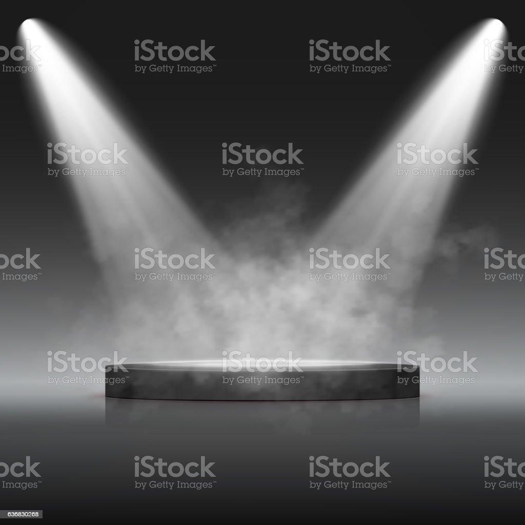 Illuminated Festive Stage Podium Scene for Award Ceremony. Vector – Vektorgrafik