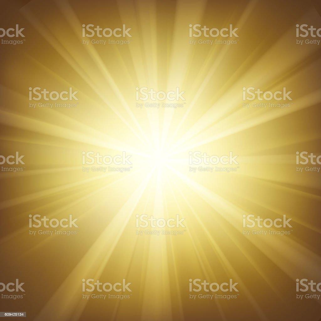 Illuminated gold light background vector art illustration
