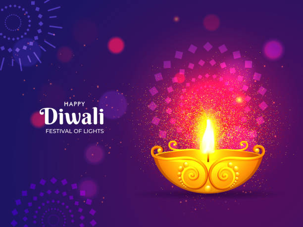Illuminated golden oil lamp with glittering effect on purple floral pattern background for Festival of Lights, Happy Diwali celebration. Can be used as greeting card design. Illuminated golden oil lamp with glittering effect on purple floral pattern background for Festival of Lights, Happy Diwali celebration. Can be used as greeting card design. diwali stock illustrations