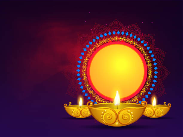 Illuminated golden oil lamps with vintage circular frame given for your message on purple background for Diwali Festival. Can be used as greeting card design. Illuminated golden oil lamps with vintage circular frame given for your message on purple background for Diwali Festival. Can be used as greeting card design. diwali stock illustrations