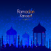 vector illustration of illuminated lamp for Ramadan Kareem Greetings for Ramadan background with Islamic Mosque