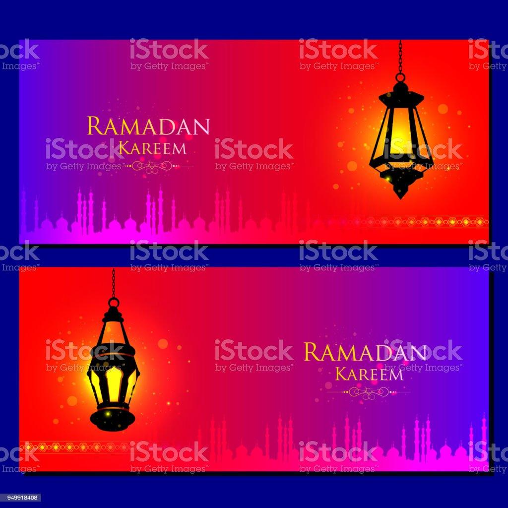 Illuminated lamp for Ramadan Kareem Greetings for Ramadan background vector art illustration