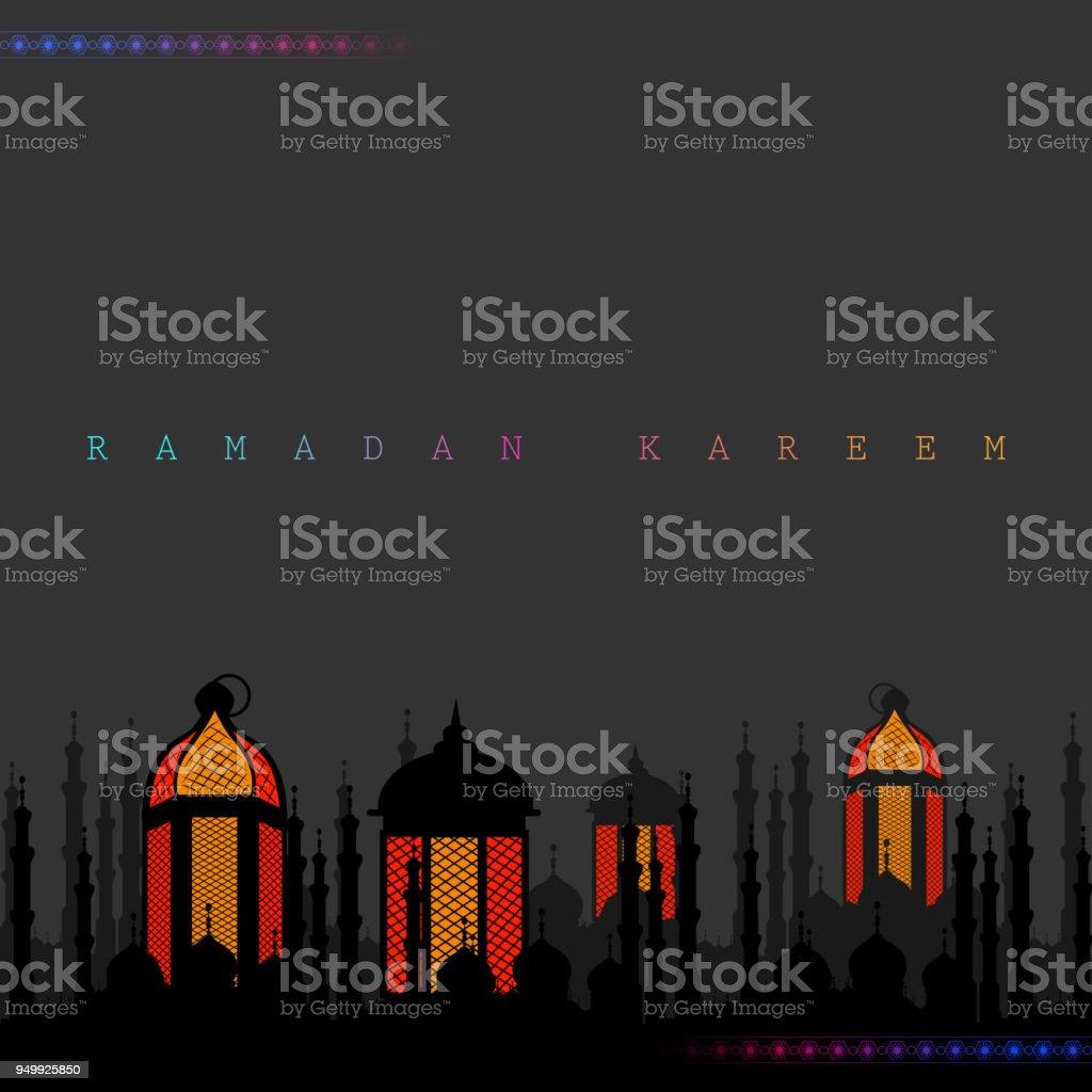 vector illustration of illuminated lamp for Ramadan Kareem Greetings...