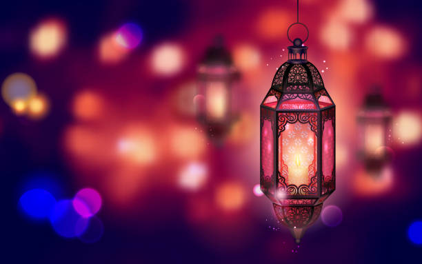 illuminated lamp on ramadan kareem background - ramadan stock illustrations, clip art, cartoons, & icons