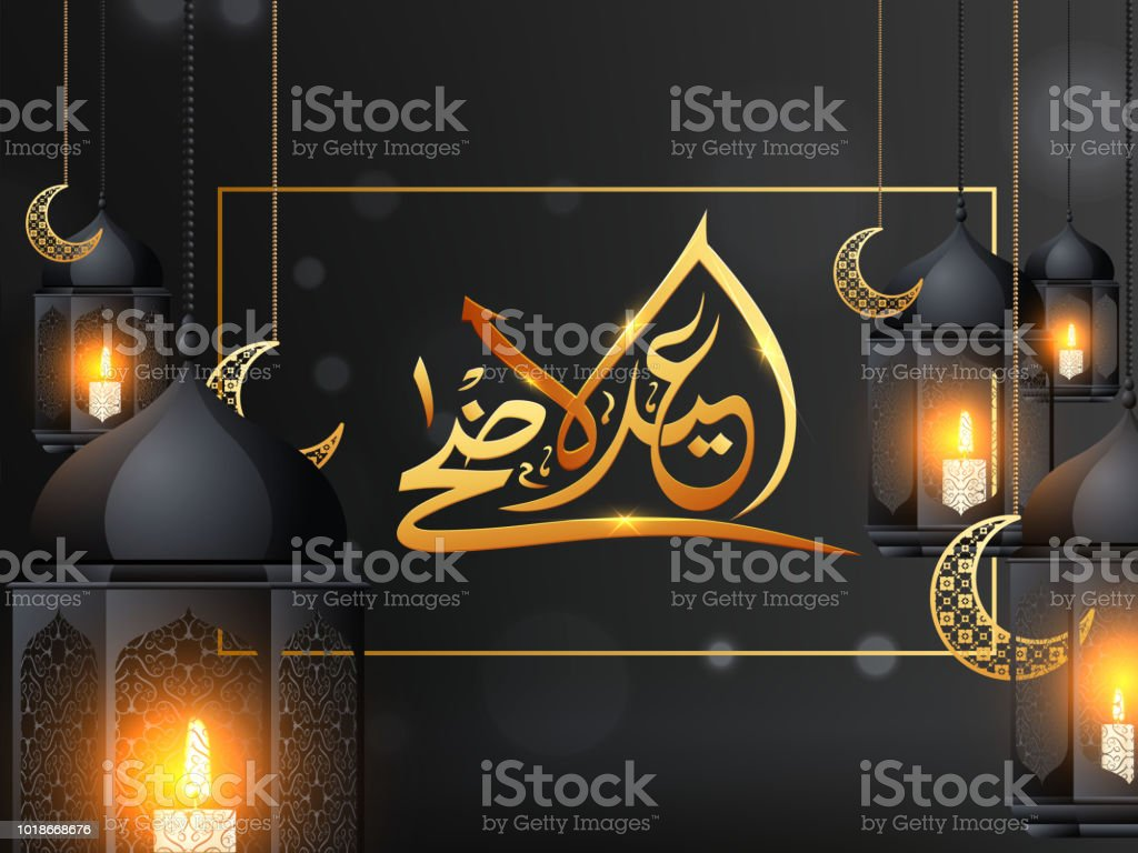 Illuminated lantern hanging with moon shape ornaments and golden Arabic calligraphy Eid-Al-Adha on glossy black background. vector art illustration
