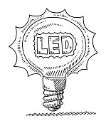 Hand-drawn vector drawing of an Illuminated LED Light Bulb. Black-and-White sketch on a transparent background (.eps-file). Included files are EPS (v10) and Hi-Res JPG.