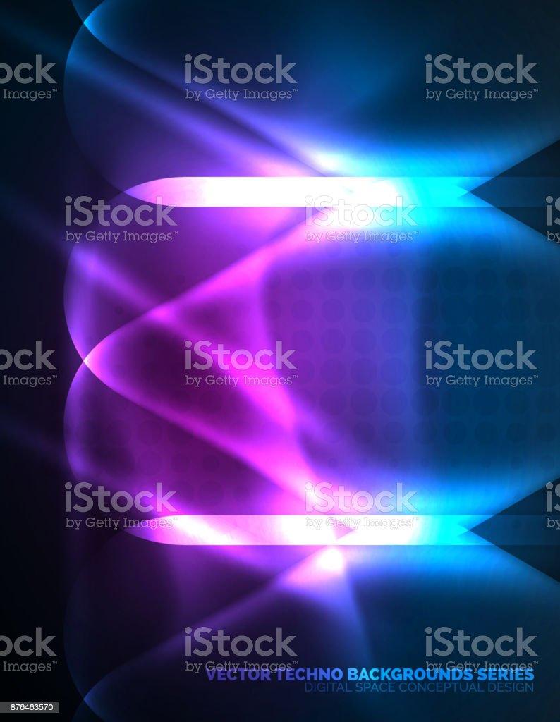 Leuchtende Farbe beleuchtete lensflares leuchtende farbe techno hintergrund stock