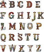 Hand drawn decorative alphabet in medieval manuscripts style. Every letter is a full illustration.