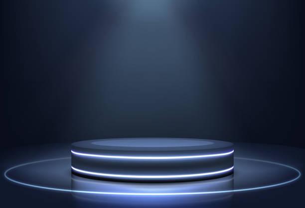 ilustrações de stock, clip art, desenhos animados e ícones de illuminated neon lights stage realistic vector - na superfície