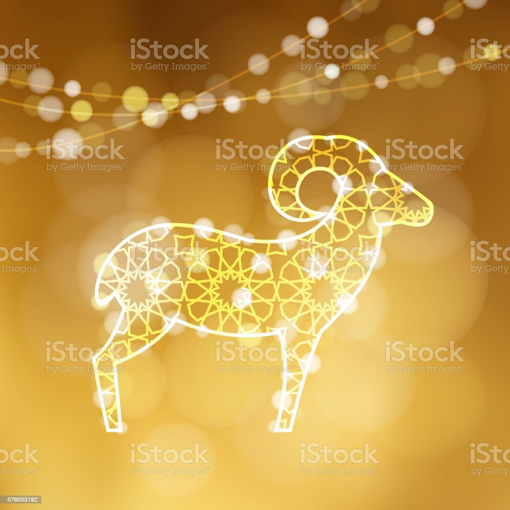 Illuminated Ornamental Sheep With Lights Eid Al Adha Greeting Card