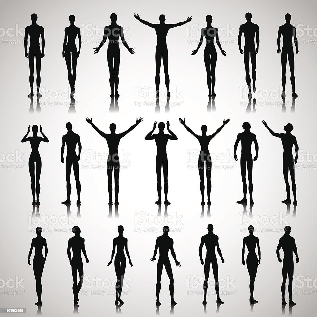 Illuminated people silhouettes vector art illustration