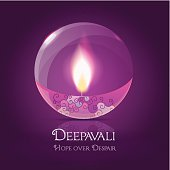 illuminated round crystal Diya with purple decorations- Diwali festival