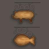 Illuminated Set Of Wooden Signboards. Vector Illustration.