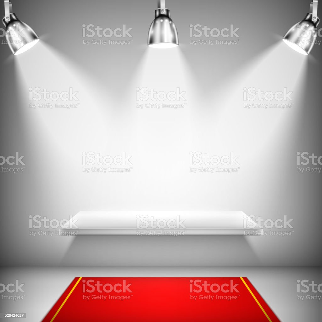 Illuminated Shelf With Red Carpet vector art illustration