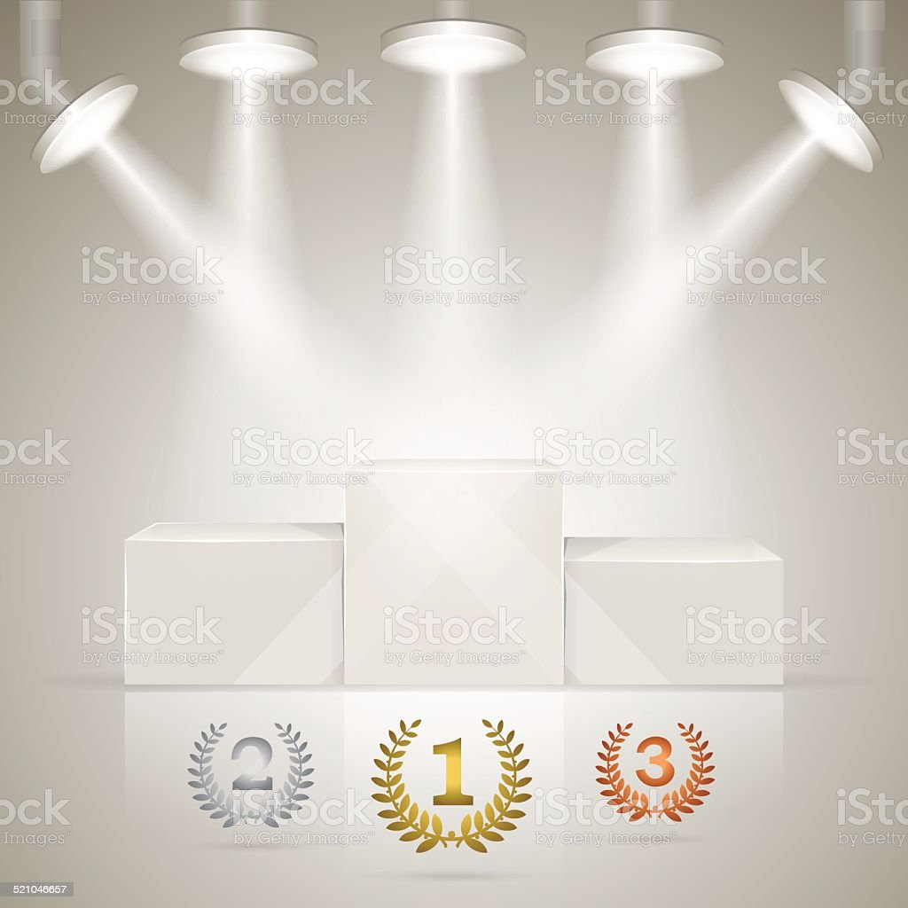 Illuminated sport winners pedestal with awards vector art illustration