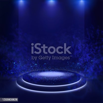 istock Illuminated stage with scenic lights and smoke. Blue vector spotlight with smoke volume light effect on black background. Stadium cloudiness projector. Mist show room. Vector. 1205800626
